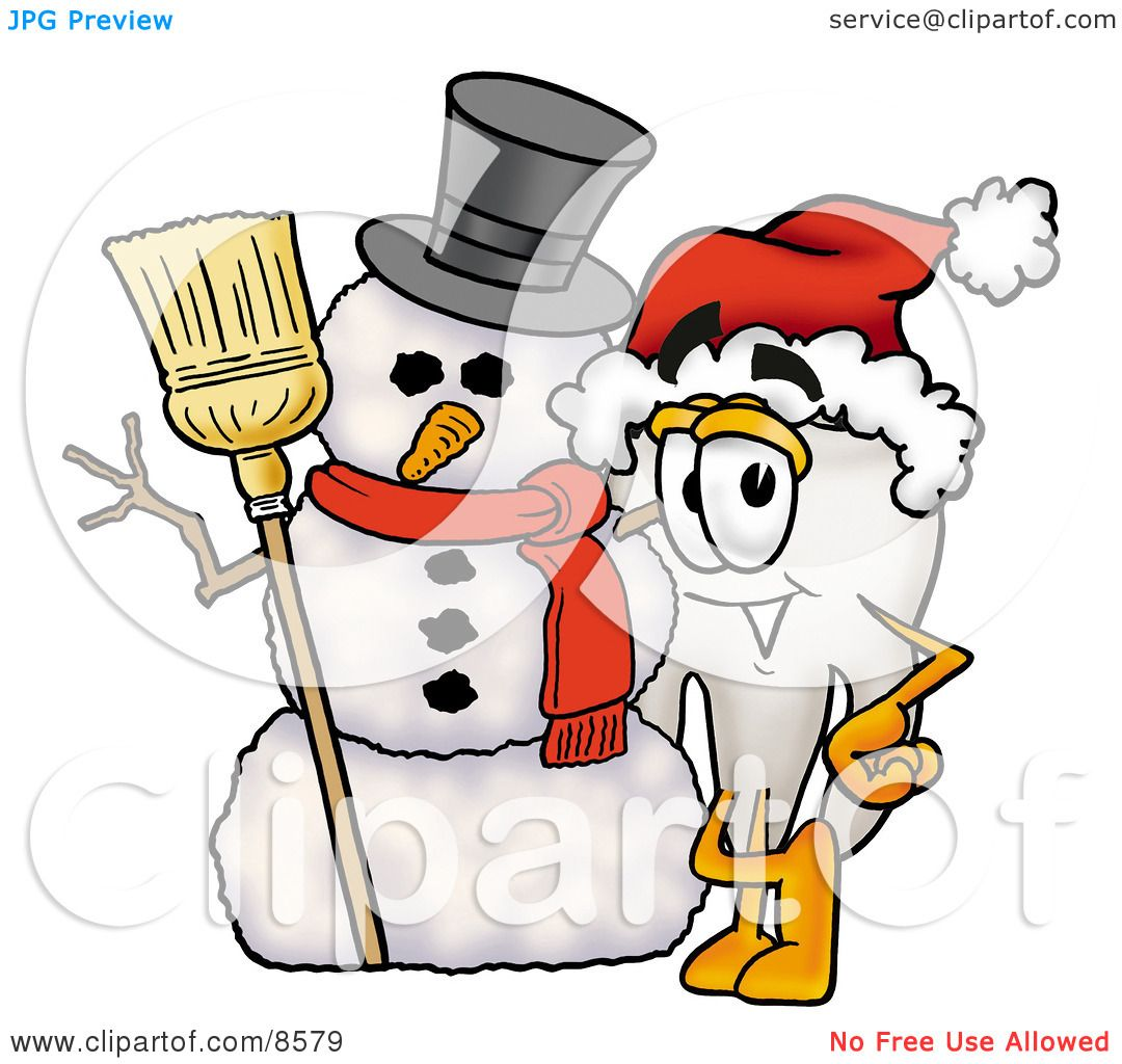 Clipart Picture of a Tooth Mascot Cartoon Character With a Snowman.