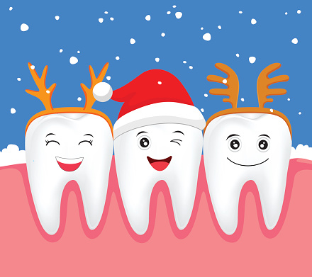Set Of Cartoon Smiling Tooth Clip Art, Vector Images.