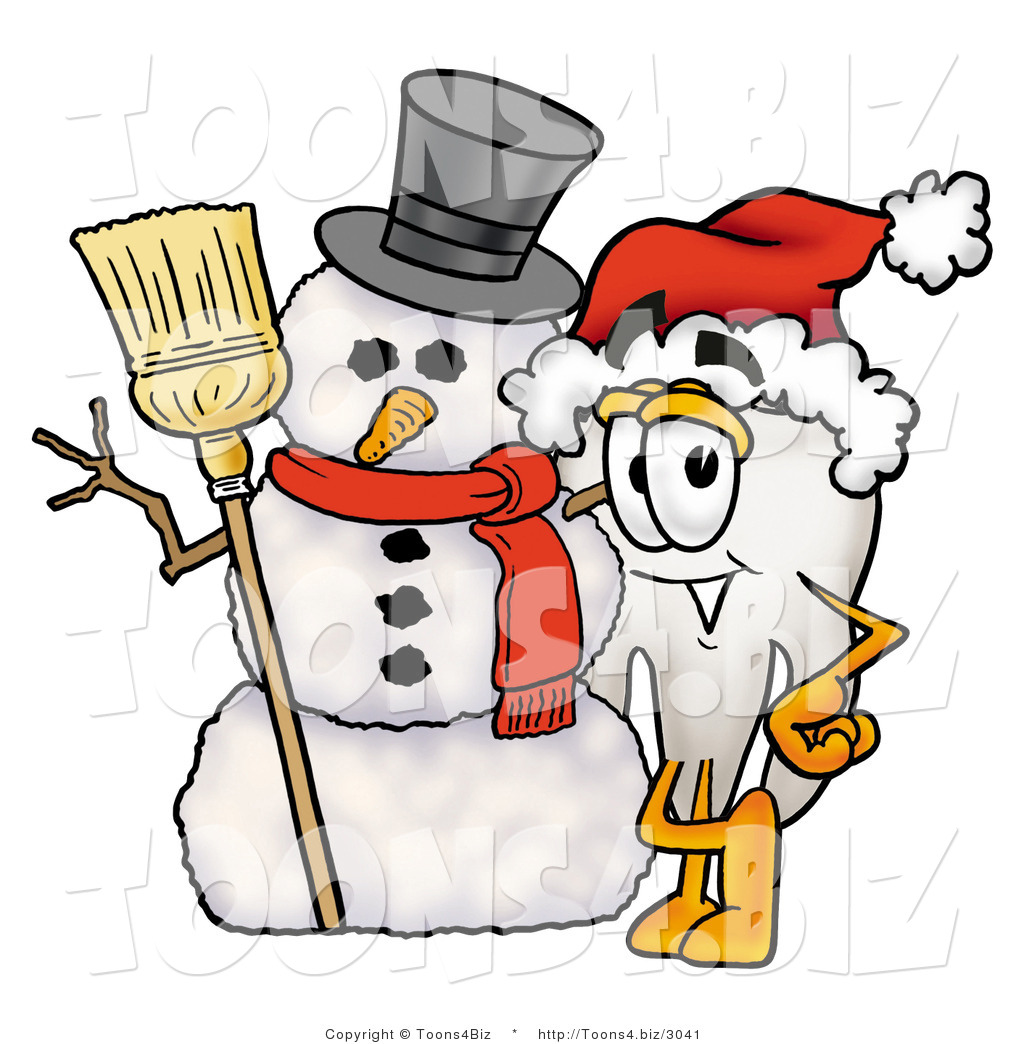 Illustration of a Cartoon Tooth Mascot with a Snowman on Christmas.
