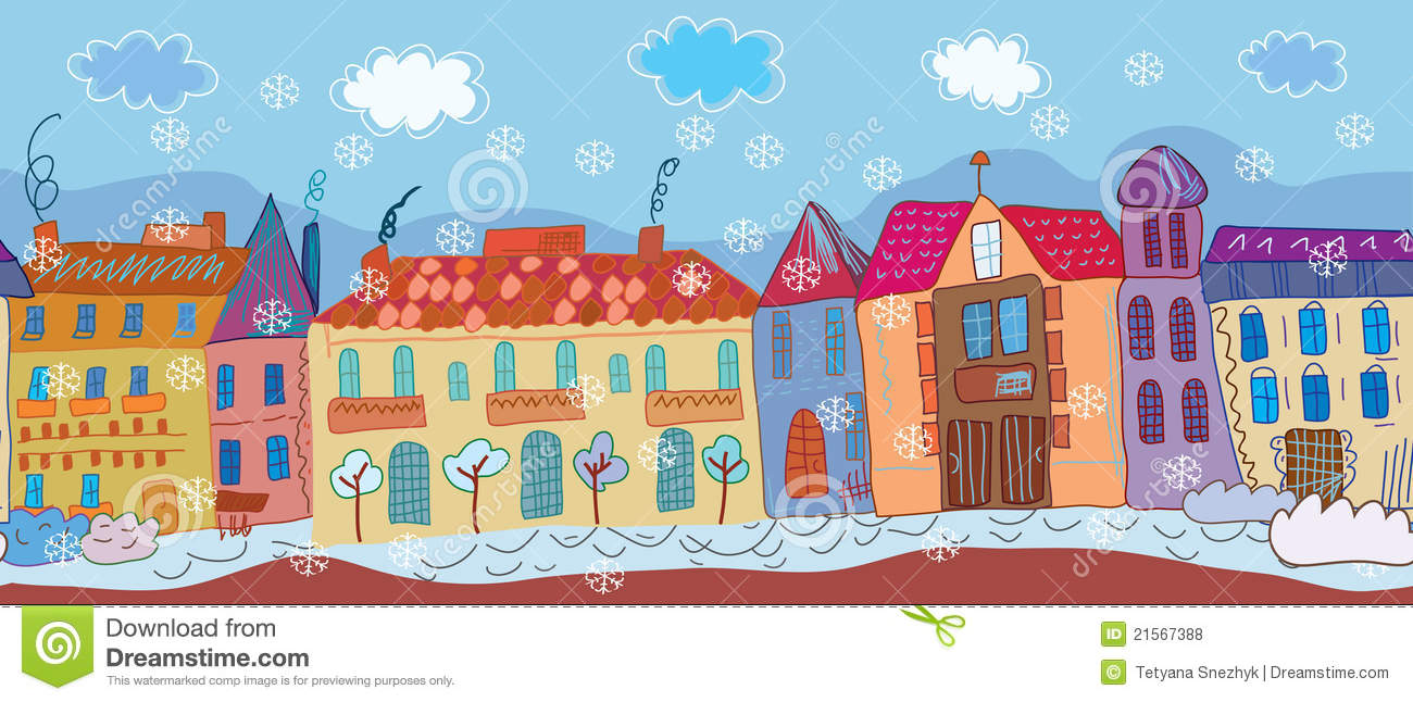 Christmas Town Banner Stock Vector.