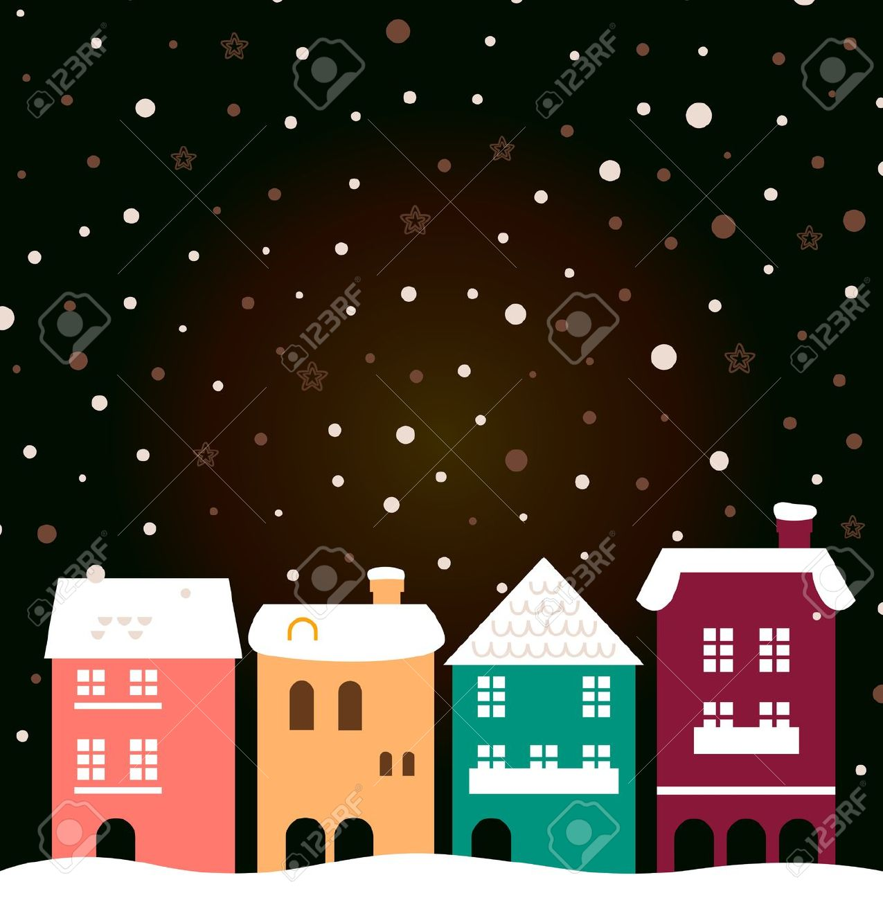 Retro Christmas Town. Vector Illustration Royalty Free Cliparts.