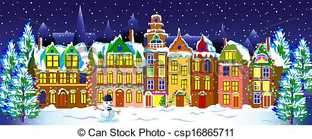 Vector Clip Art of Winter night in the old town..