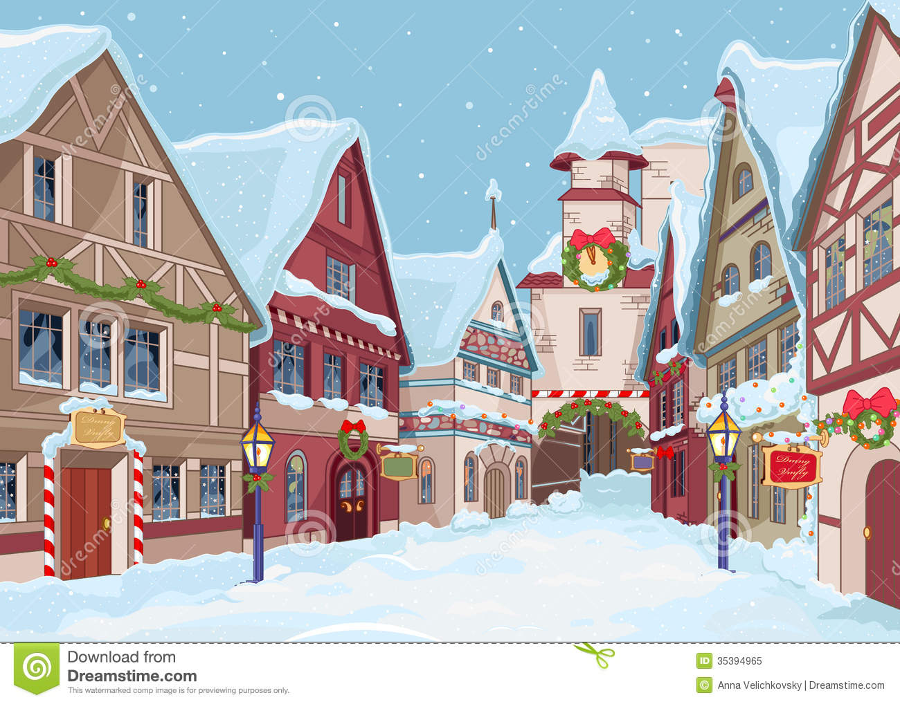 Christmas town clipart.