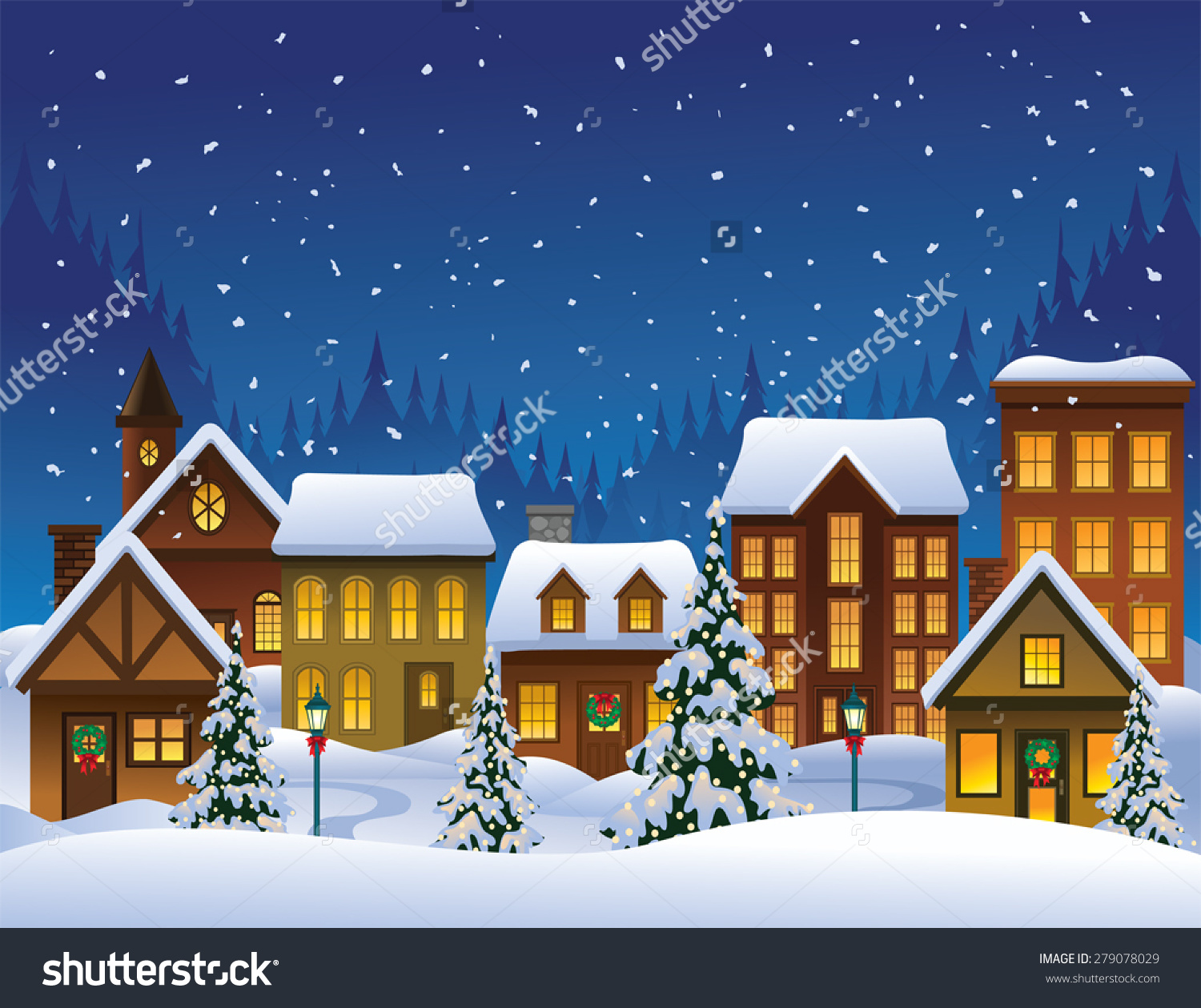 Christmas Village Stock Vector 279078029.
