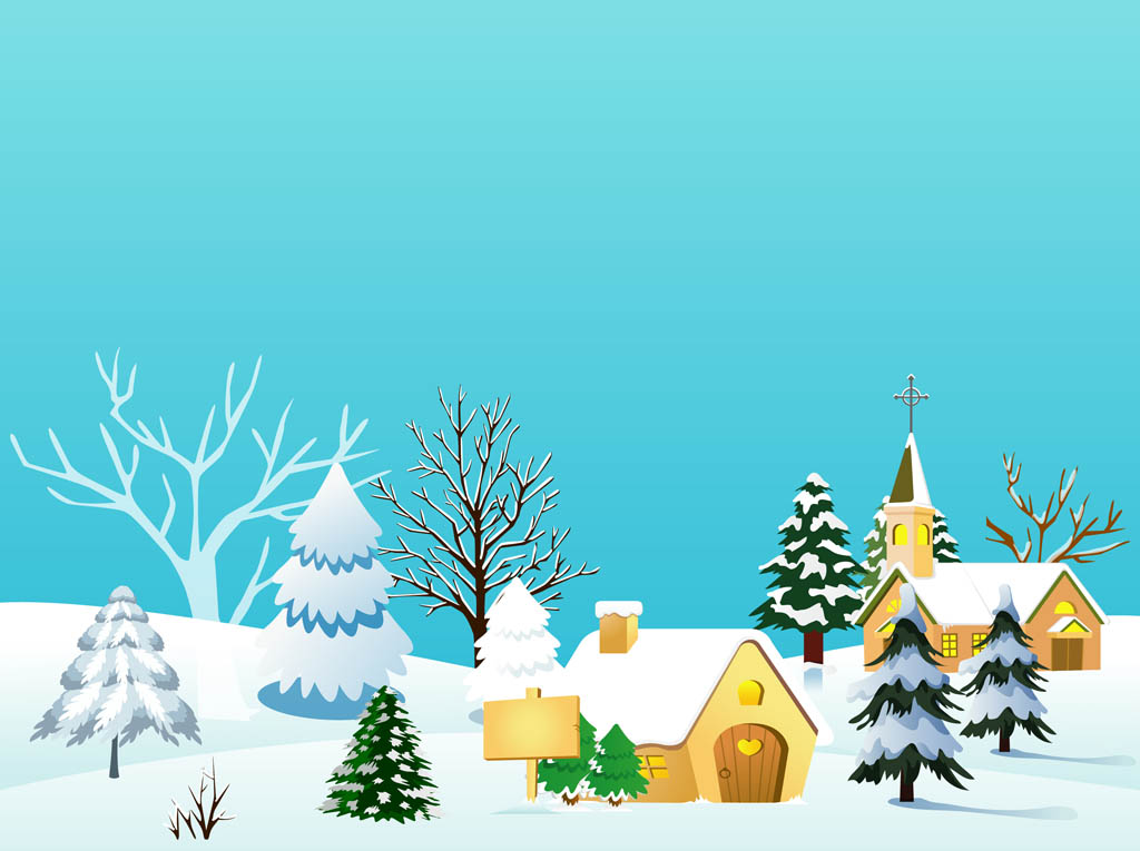 Christmas Village Vector Illustration Vector Art & Graphics.