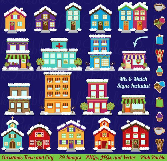 Winter and Christmas Village Clipart Clip Art, Printable House.
