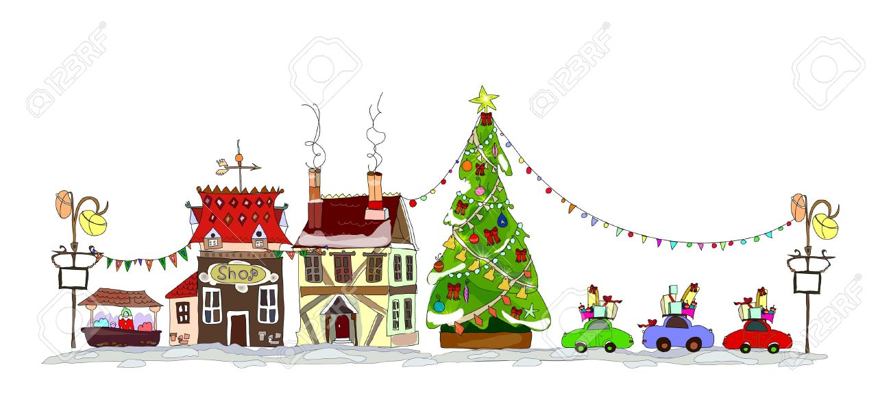 Christmas Town Illustration Royalty Free Cliparts, Vectors, And.
