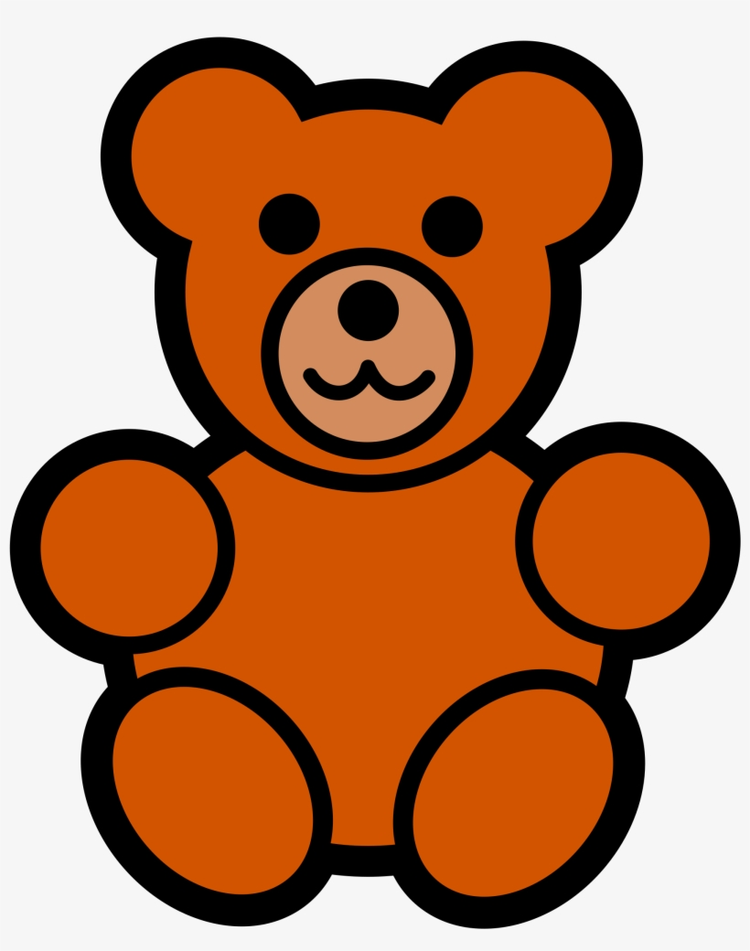 Teddy Bear Clip Art Christmas Toy Line Art.