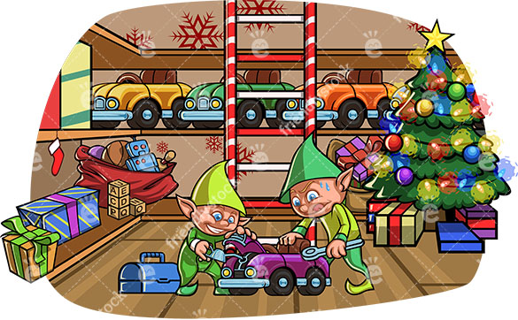 Two Cute Christmas Elves Making A Car Toy At Santa's Workshop Around  Christmas.