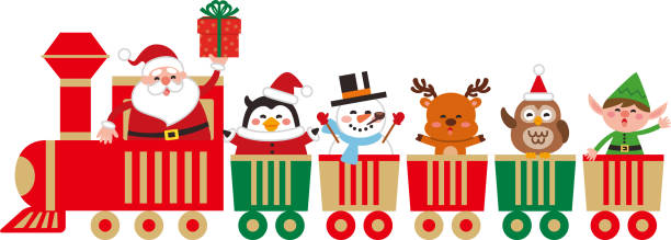 Best Toy Train Christmas Illustrations, Royalty.