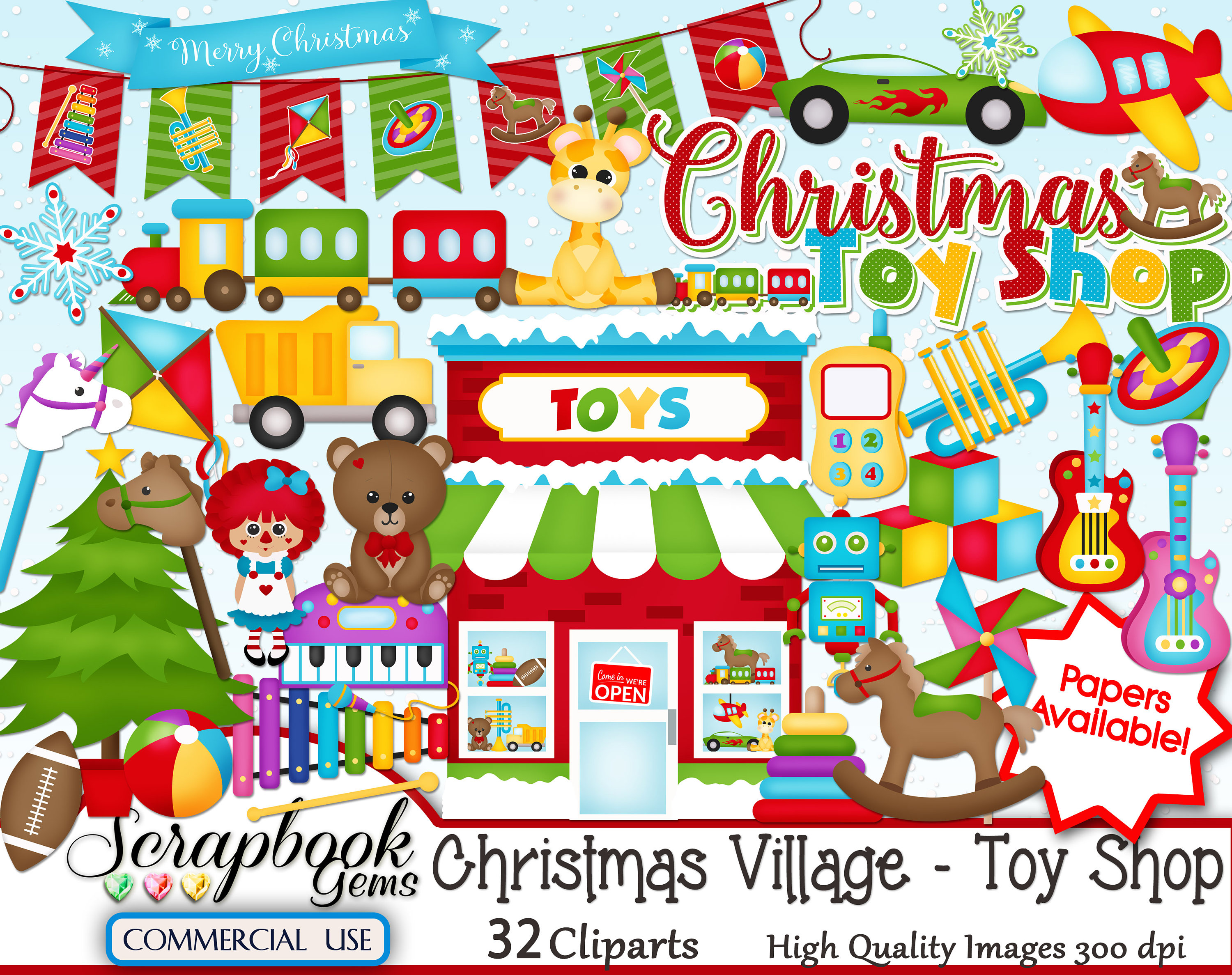 CHRISTMAS TOY SHOP Clipart, 32 png Clipart files, Instant Download, toy  store, winter, train, plush, trumpet, guitar, rocking horse, truck.