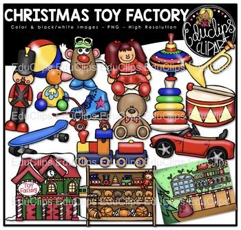 Christmas Toy Factory Clip Art Bundle {Educlips Clipart}.