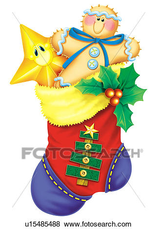 Christmas Stocking Stuffed With Toys Clip Art.