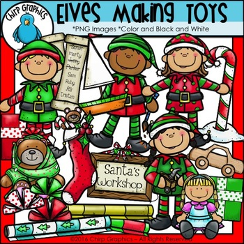 Elves Making Toys Clip Art Set.