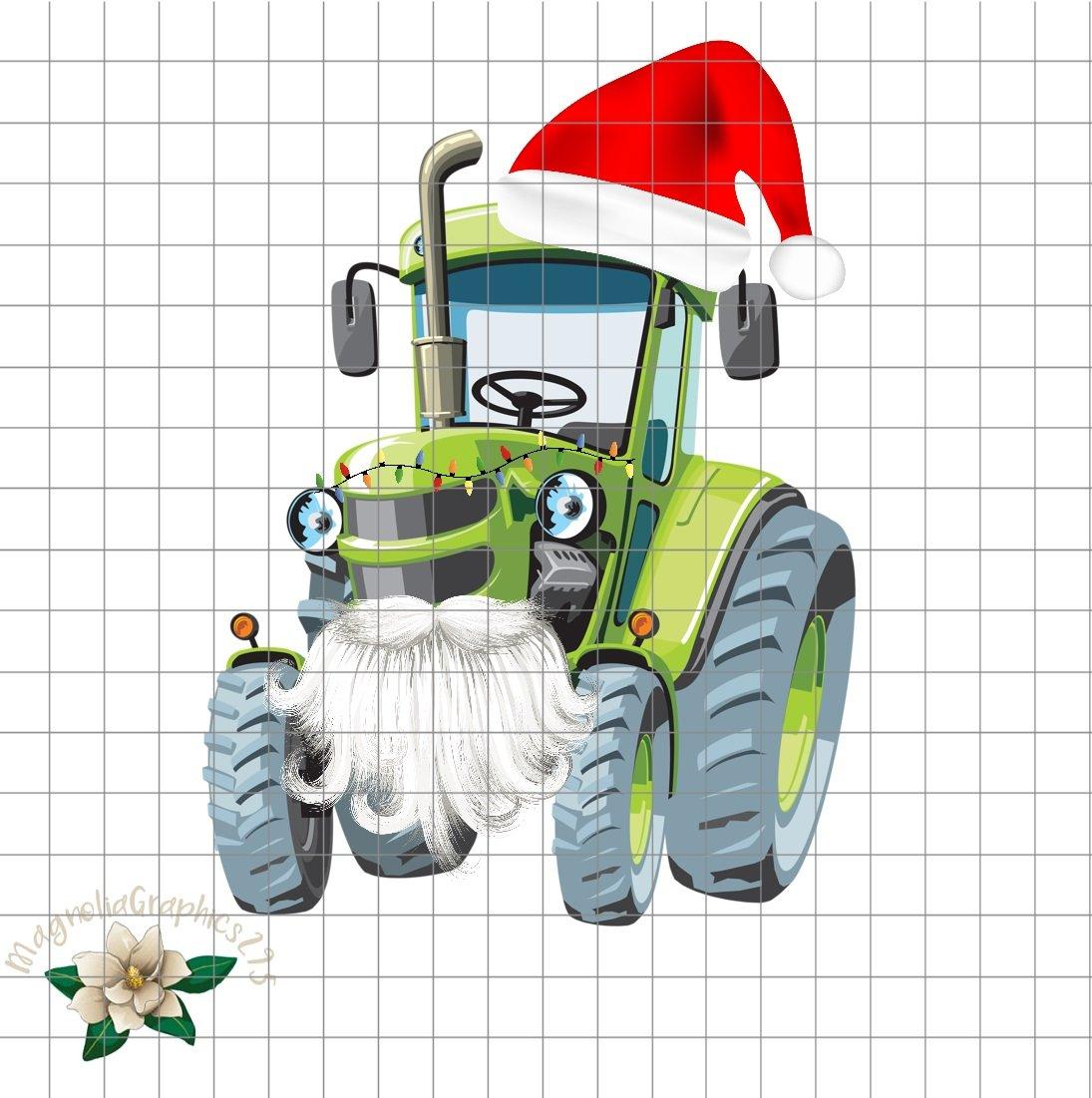 Christmas Tractor PNG Printable.