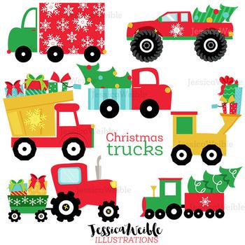 Christmas Trucks Cute Digital Clipart, Christmas Graphics.