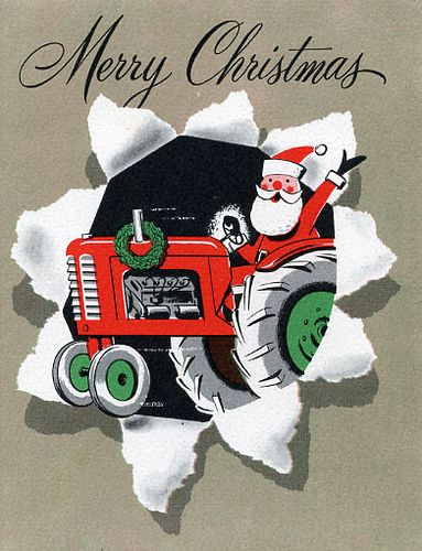 Christmas tractor clipart.