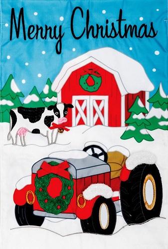 Christmas Tractor Applique Flag.