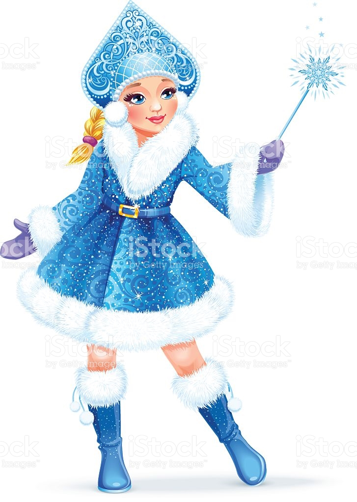 Snow Maiden Traditional Russian Christmas Character On White.