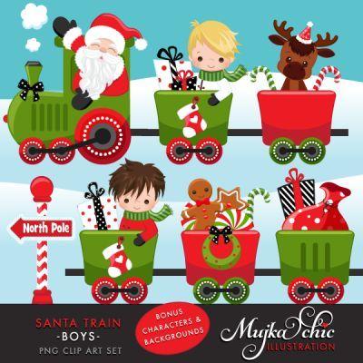 Christmas Santa Train Boys Clipart.