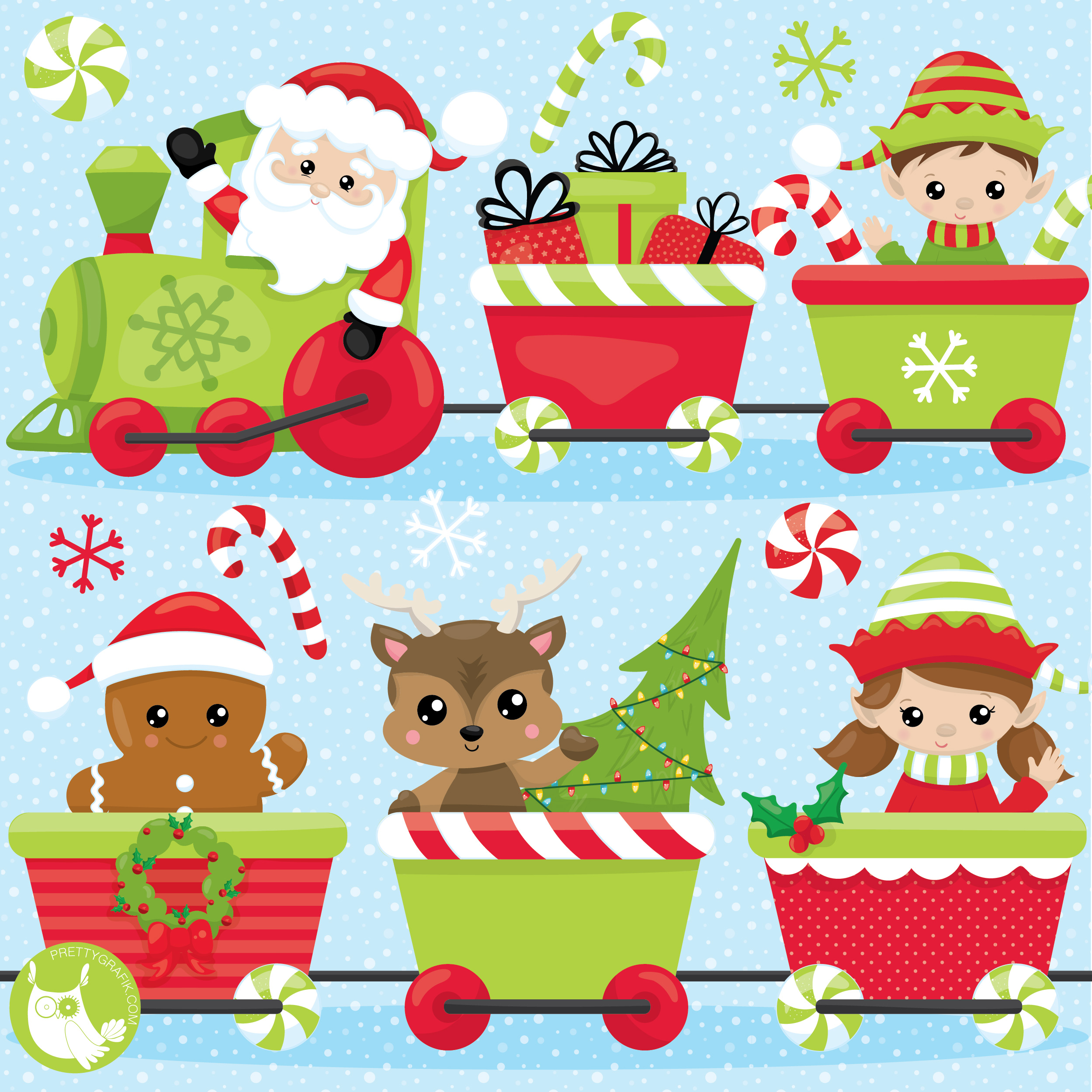 Christmas Party Train Clipart.