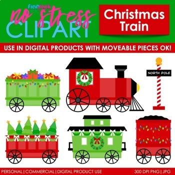 Christmas Train Clip Art (Digital Use Ok!).