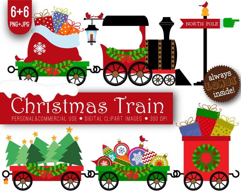 Christmas Train Clipart, xmas, Christmas train, xmas train, New Year train,  New Year, holiday party, Christmas digital, xmas digital.