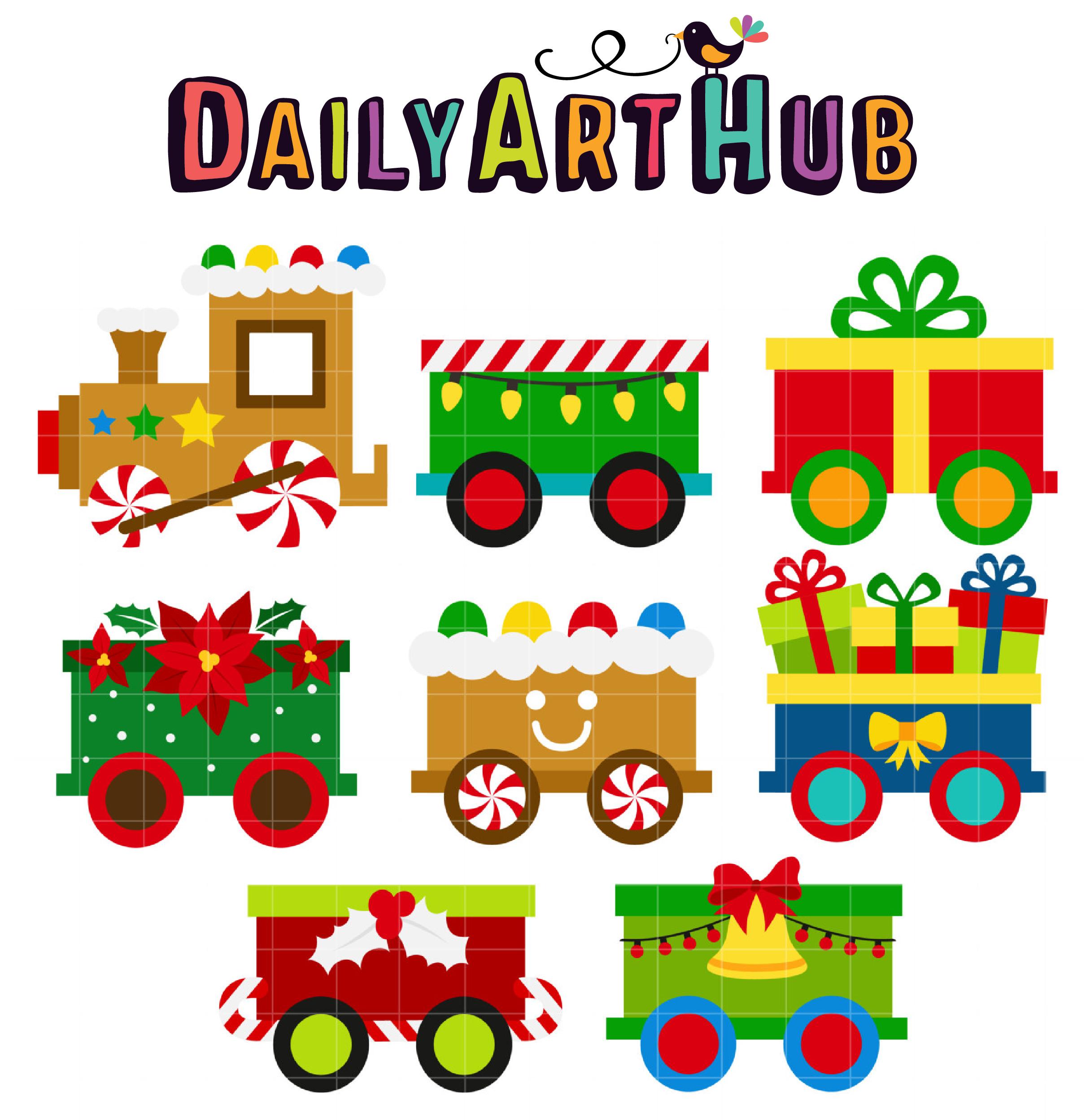 Christmas Train Clip Art Set.