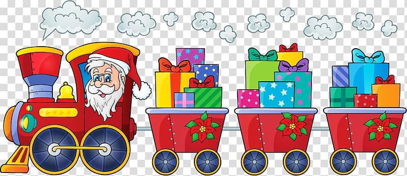 Train Santa Claus Rail transport Christmas, Christmas Train.