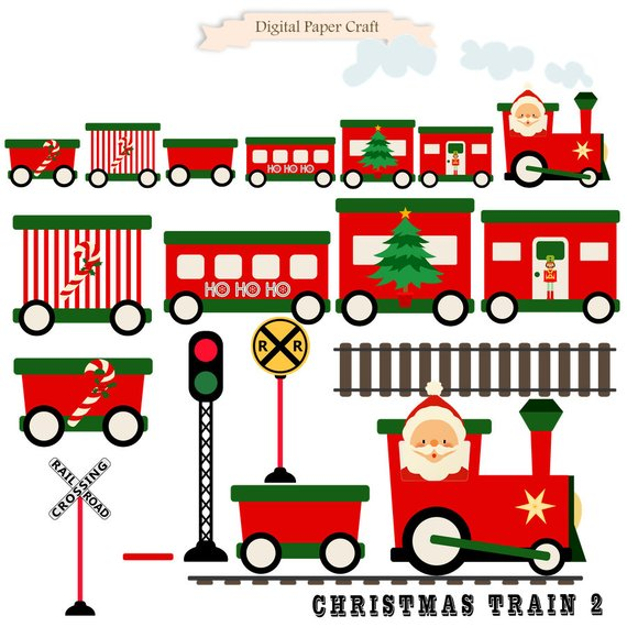 Christmas train, Train Clipart, Christmas clipart, Instant Download.