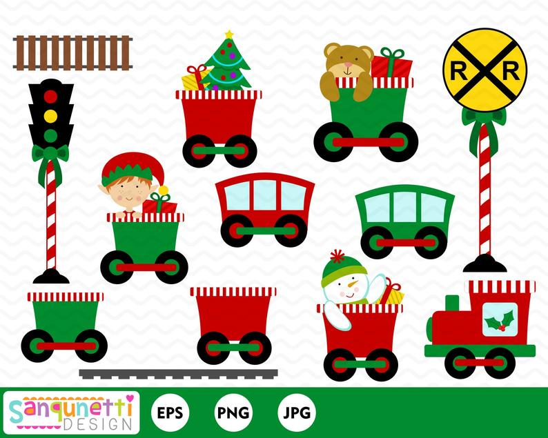 Christmas train clipart, choo choo train, Winter graphics, digital clip art.