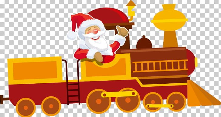Santa Claus Train Christmas Ornament PNG, Clipart, Art, Balloon.