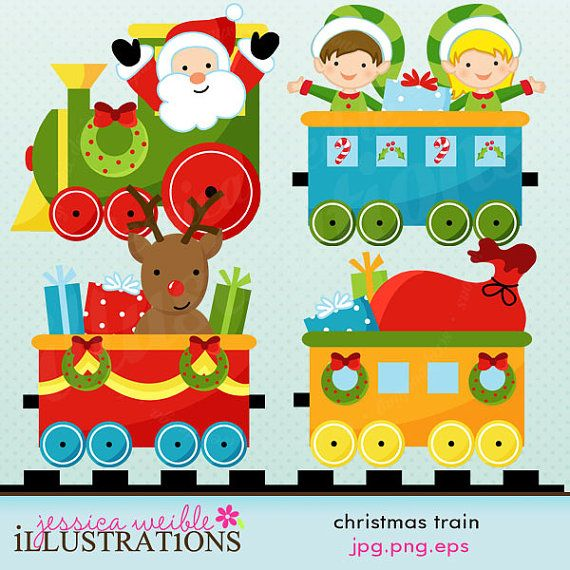 Christmas Train Cute Digital Clipart for Commercial or Personal Use.