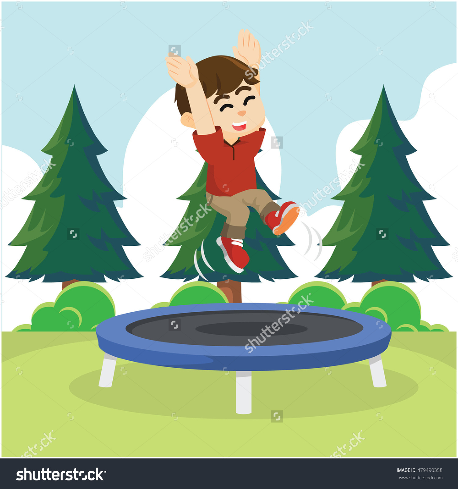 Boy Cheerful Jumping On Trampoline Stock Vector 479490358.