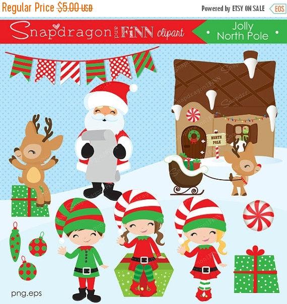 SALE Christmas clipart Santa clipart Elf clipart Reindeer.