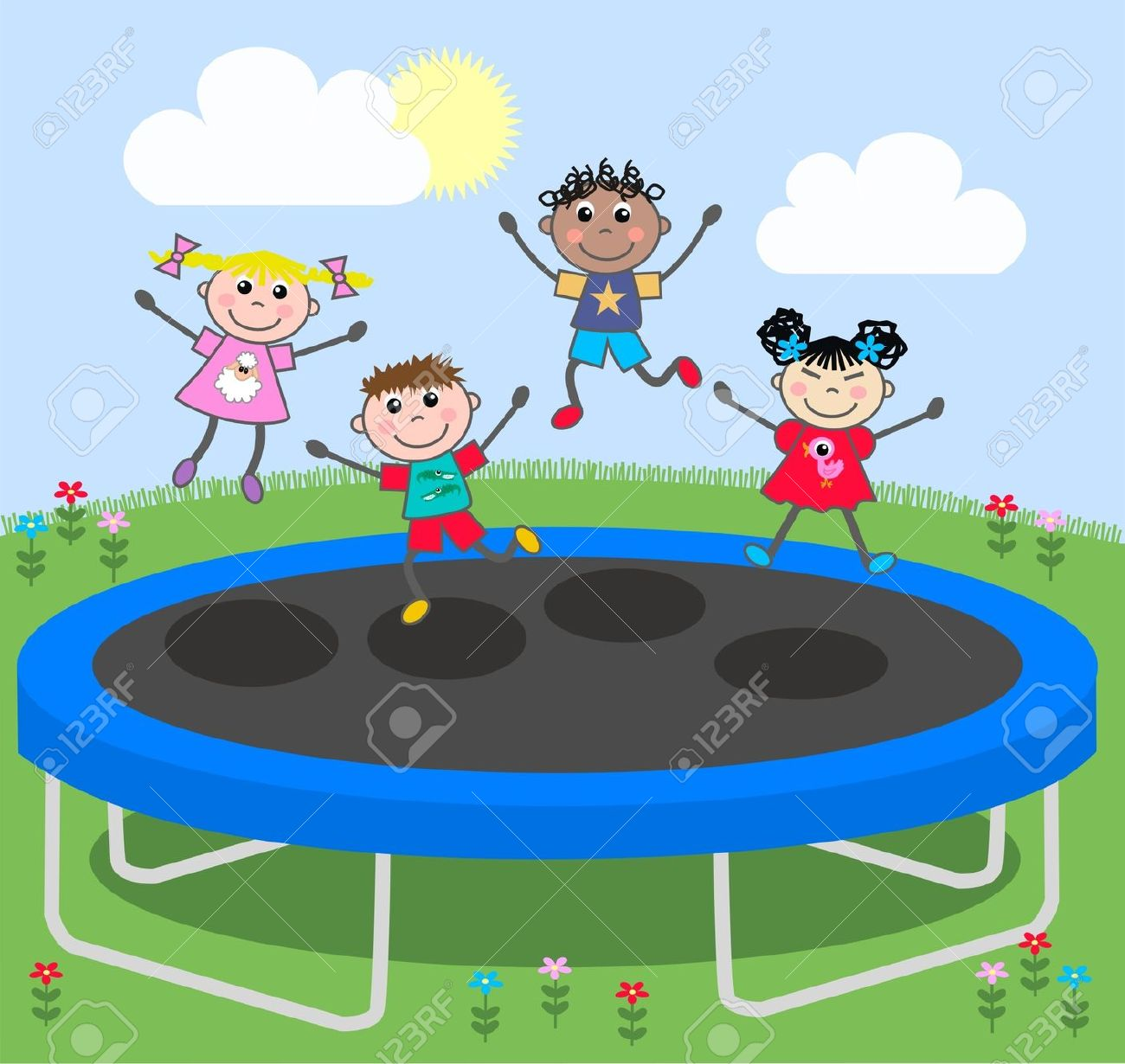 Kid Jumping On Trampoline Clipart.