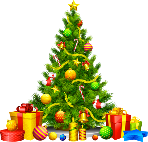 Large Transparent Christmas Tree with Presents Clipart.
