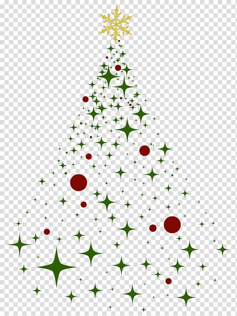 Green and yellow star illustration, Christmas tree Christmas.