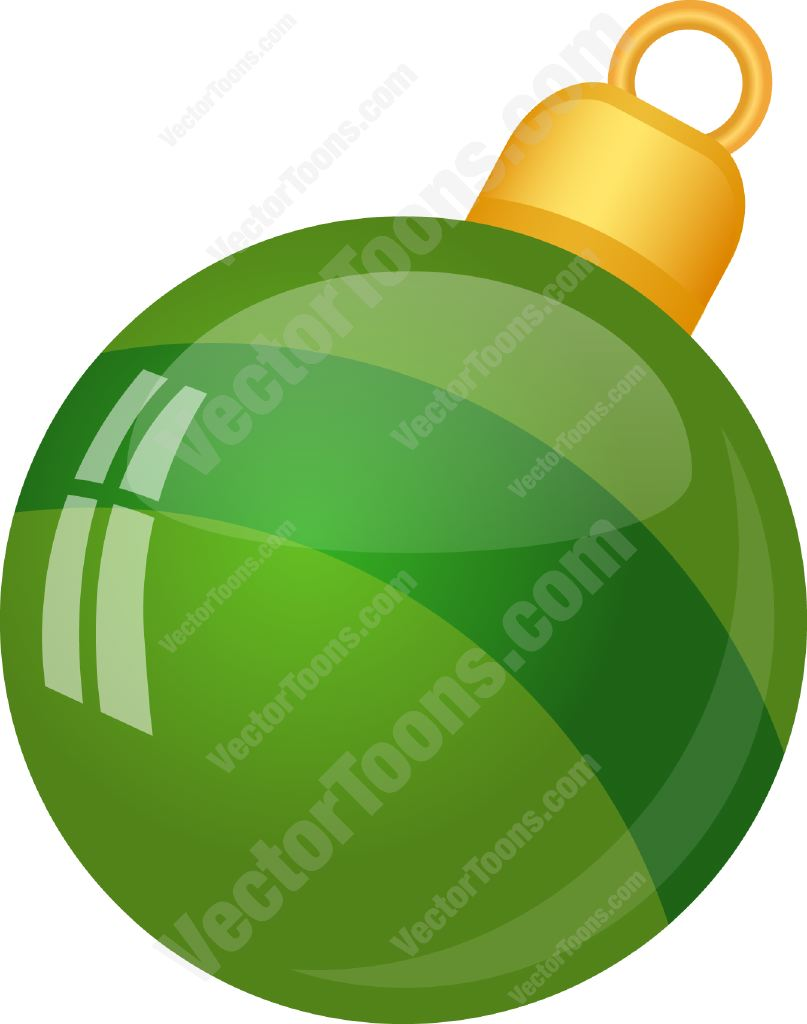 Shiny Green Christmas Tree Ball Ornament With A Stripe Cartoon Clipart.
