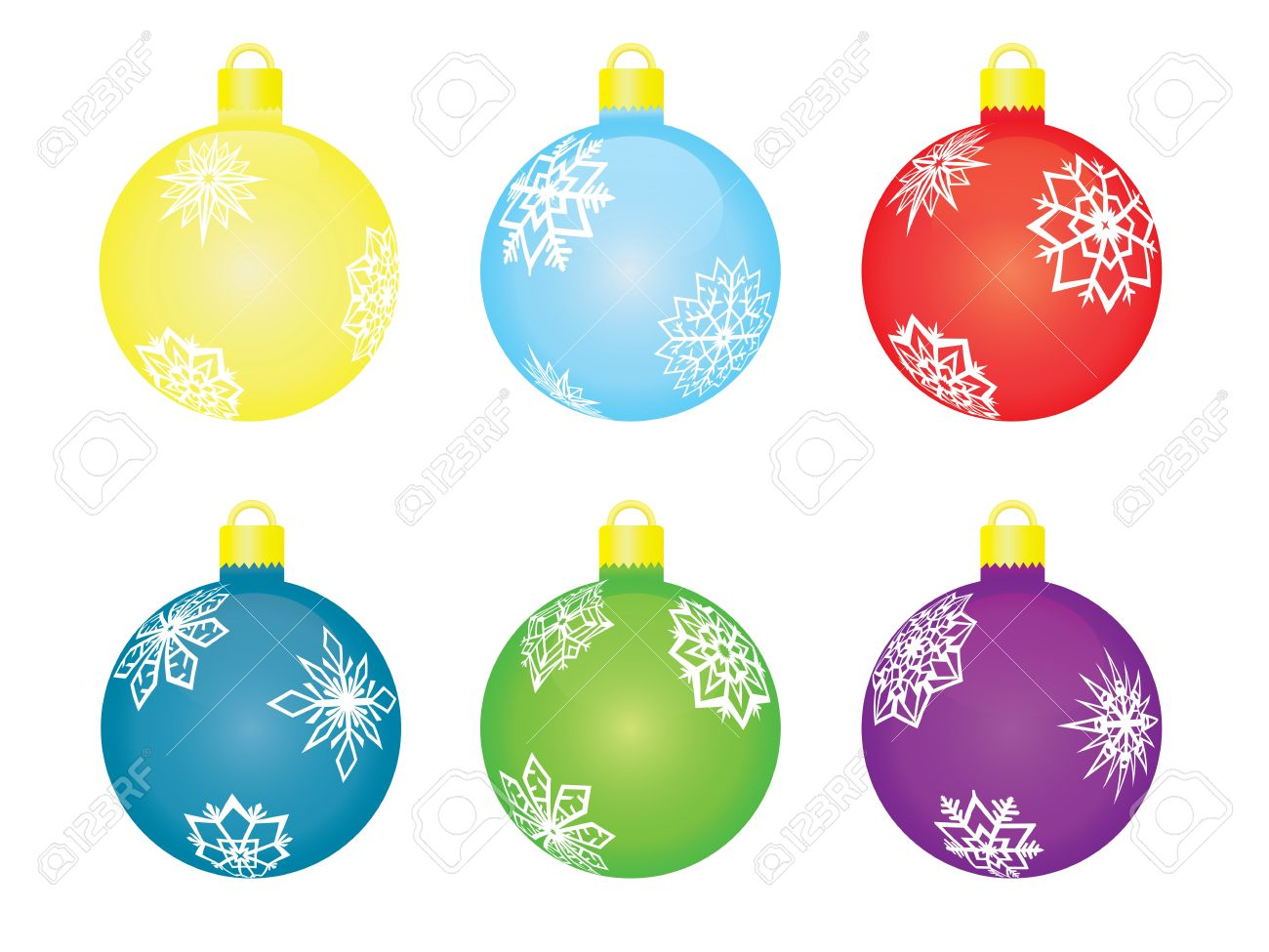 Set Of Christmas Tree Balls Vector Illustration Royalty Free.