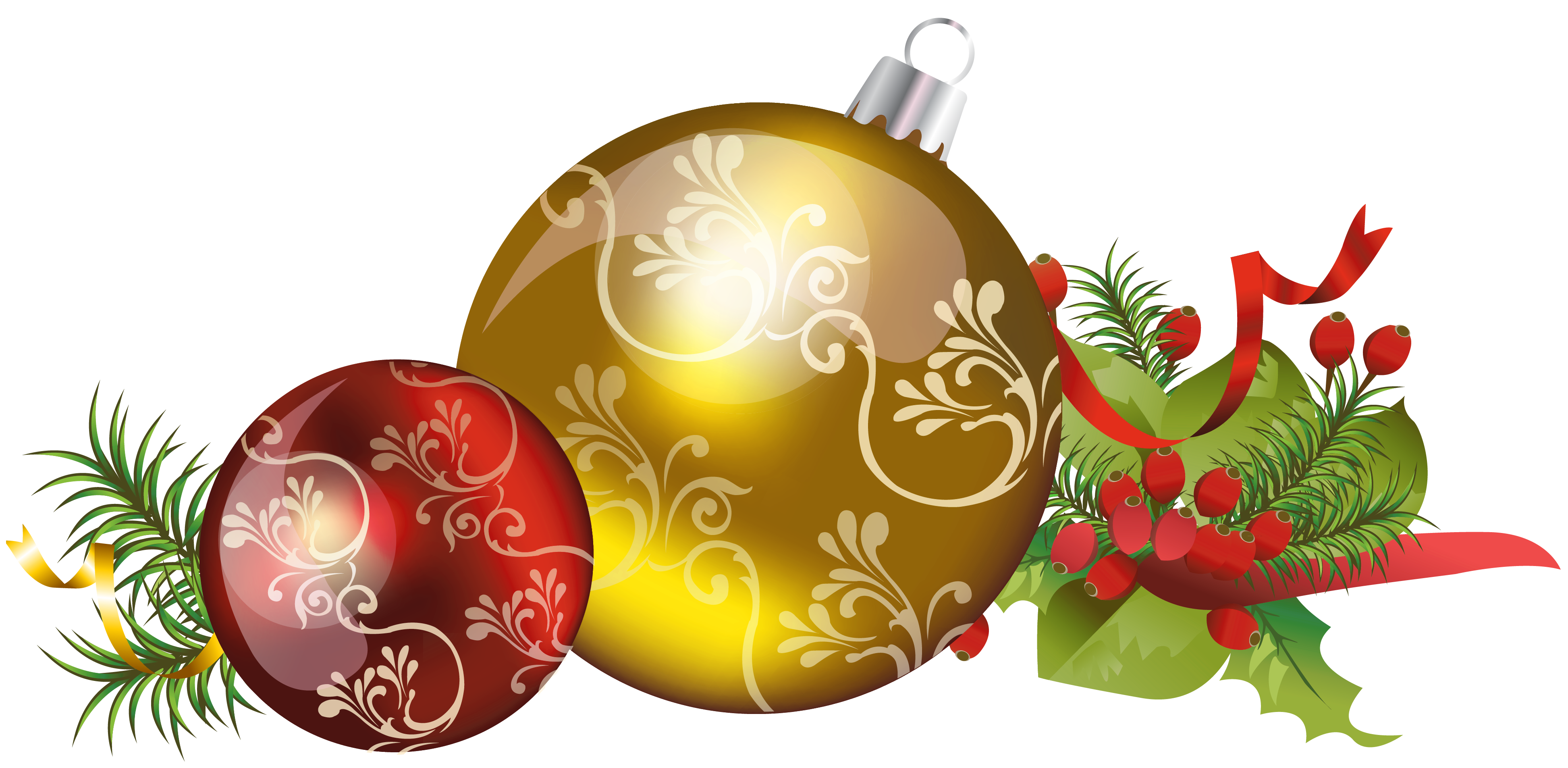 Christmas Tree Ball Decorations Clipart.