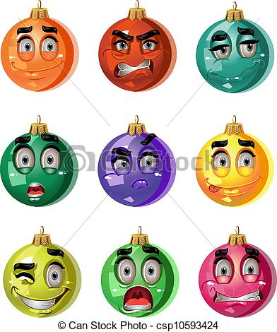 Clip Art Vector of Christmas ornaments balls.