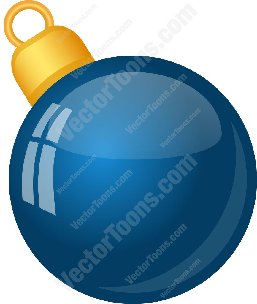 Solid Blue Christmas Tree Ball Ornament Cartoon Clipart.