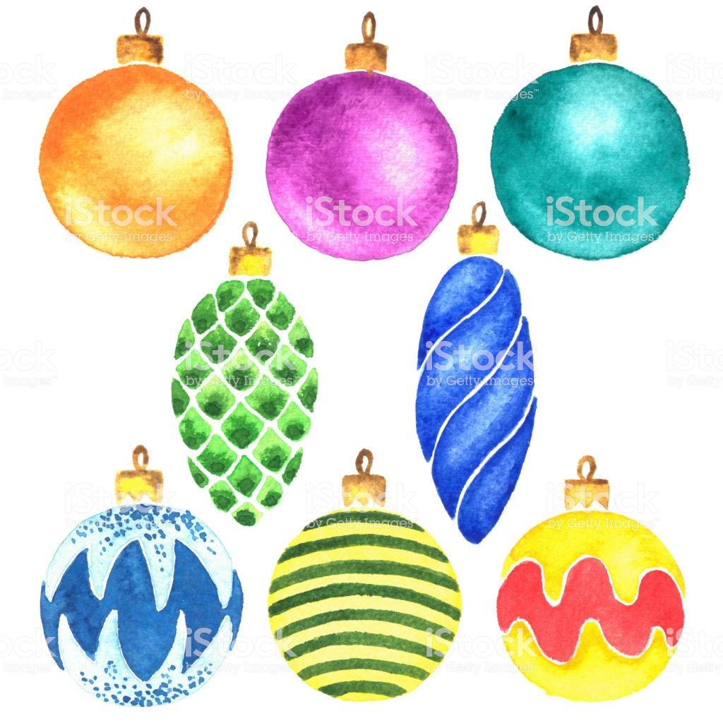 Hand Painted Watercolor Christmas Tree Balls Clip Art Stock Vector.