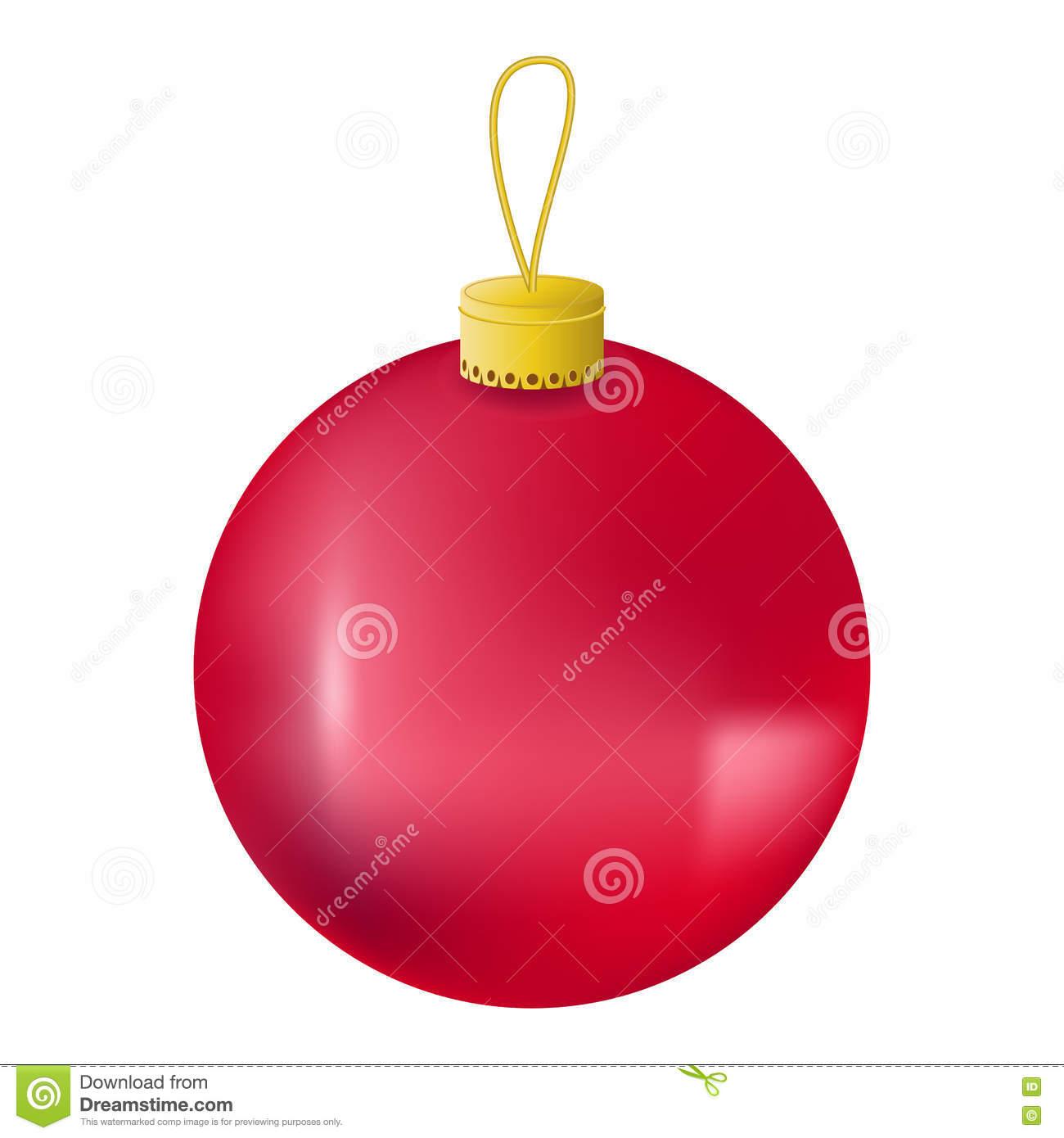 Red Christmas Tree Ball Realistic Illustration. Christmas Fir Tree.