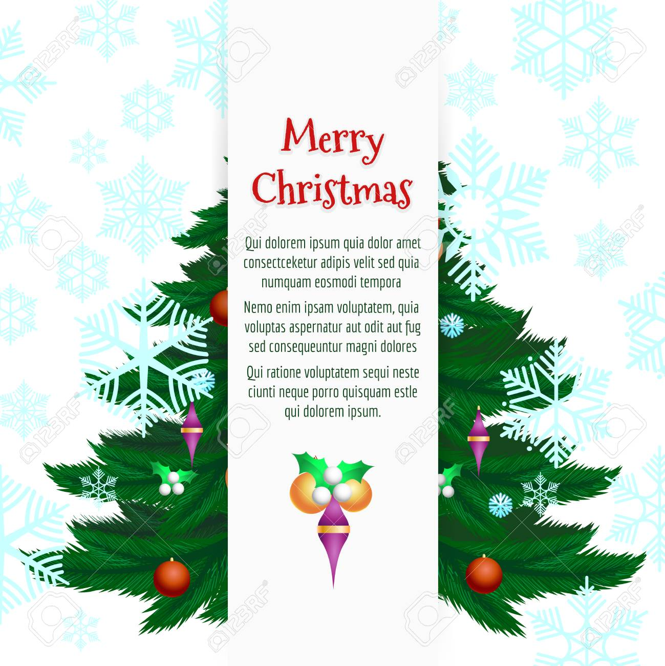 Decorative christmas tree, snowflakes and decorations banner...