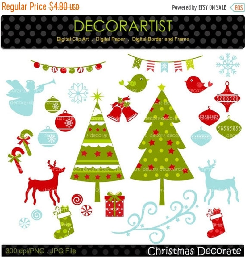 ON SALE Christmas clip art, Christmas tree clip art,christmas banner,  christmas bunting clip art, digital clipart,instant download.