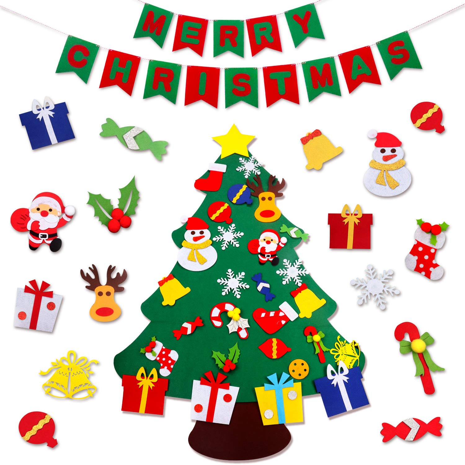 JOKBEN DIY Felt Christmas Tree Set, with Merry Christmas Felt Banner Wall  Hanging Christmas Decorations with 29pcs Detachable Ornaments Xmas Gifts  for.