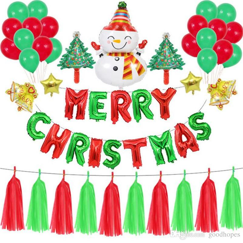 Christmas Party Decorations Foil Balloon Flag Banner Christmas Tree Santa  Snowman Balloons For Home School Christmas Tree Party Decoration Christmas.