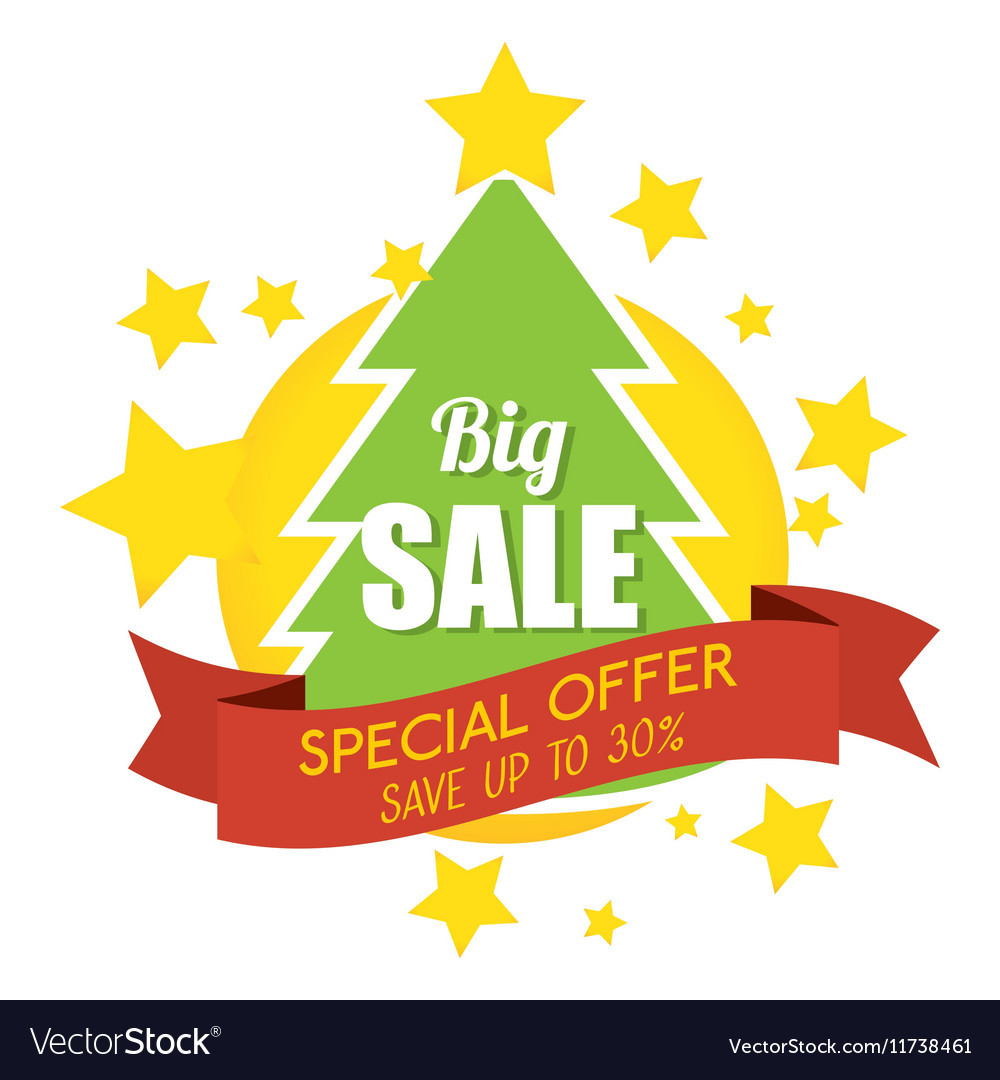 Big sale special offer merry christmas tree banner.